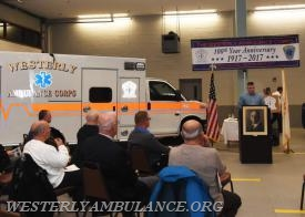 "Phillip B. Gingerella is the Master of Ceremonies at the Westerly Ambulance Corps ""Kick Off"" celebration for their centennial anniversary. The corps unveiled a new logo and anniversary ambulance in a ceremony on Friday,Jan.6,2017. 