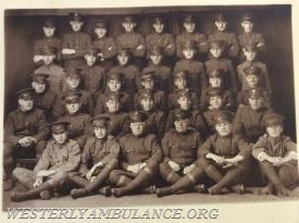 The 1918 crew of the Westerly Red Cross Sanitary Unit, now known as the Westerly Ambulance Corps. (Courtesy of Philip Gingerella Sr.)