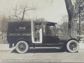 The Westerly Red Cross Sanitary Unit's first vehicle, a Ford Model T-style wagon. The unit is now known as the Westerly Ambulance Corps. (Courtesy of Philip Gingerella Sr.)