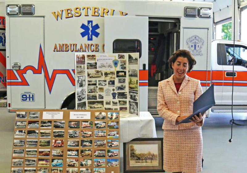 Gov. Gina Raimondo paid a brief visit to the Westerly Ambulance Corps on Friday, Sept. 8th, 2017, to recognize 100th anniversary. | Harold Hanka, The Westerly Sun