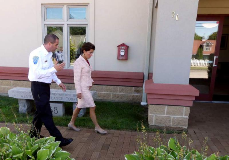 Westerly Ambulance Asst. Chief Michael Brancato guides Gov. Gina Raimondo on a brief tour of the facility on Friday, Sept. 8th, 2017. The governor's visit was in recognition of the Westerly Ambulance Corps 100th anniversary.| Harold Hanka, The Westerly Sun