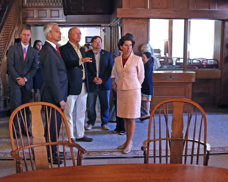 Gov. Gina Raimondo along with local officials visited the Westerly Library for a brief tour and to recognize their 125th anniversary on Friday, Sept. 8th, 2017. The governor also stopped by the Westerly Ambulance Corps to recognize its 100th anniversary.| Harold Hanka, The Westerly Sun