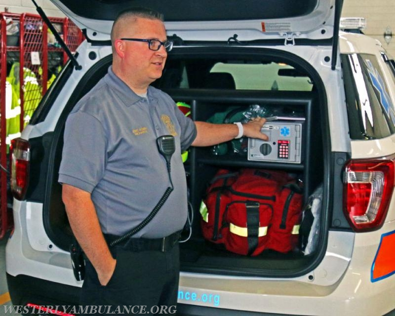 Westerly Ambulance EMS Administrator Kenneth Richards III points out features on the corps new emergency response vehicle or 'fly car,' on Tuesday, Nov. 14th, 2017. The vehicle was purchased in part by funds provided by the Alfred M. Roberts Foundation in Watch Hill. | Harold Hanka, The Westerly Sun