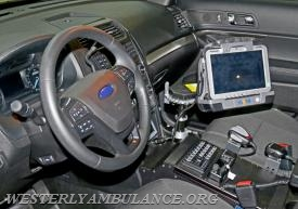 This interior view of Westerly Ambulance's new emergency response vehicle shows the SUV's communications and computer features. Harold Hanka, The Westerly Sun
