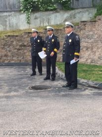 L-R / Acting Chief Ronald J. MacDonald III,           Asst. Chief Michael T.  Brancato,           Chaplin Thomas M. Gibney